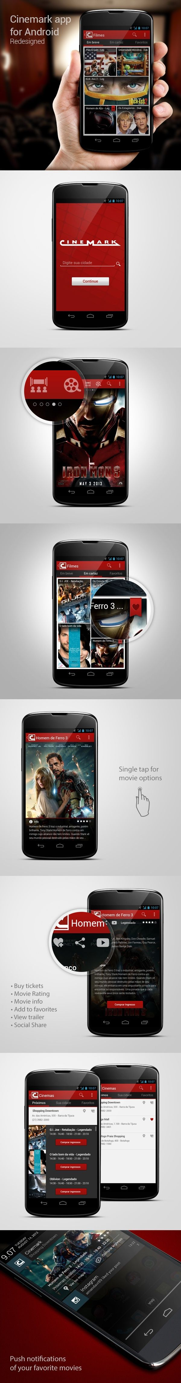 Cinemark app for Android Redesigned by Ricardo Monteiro