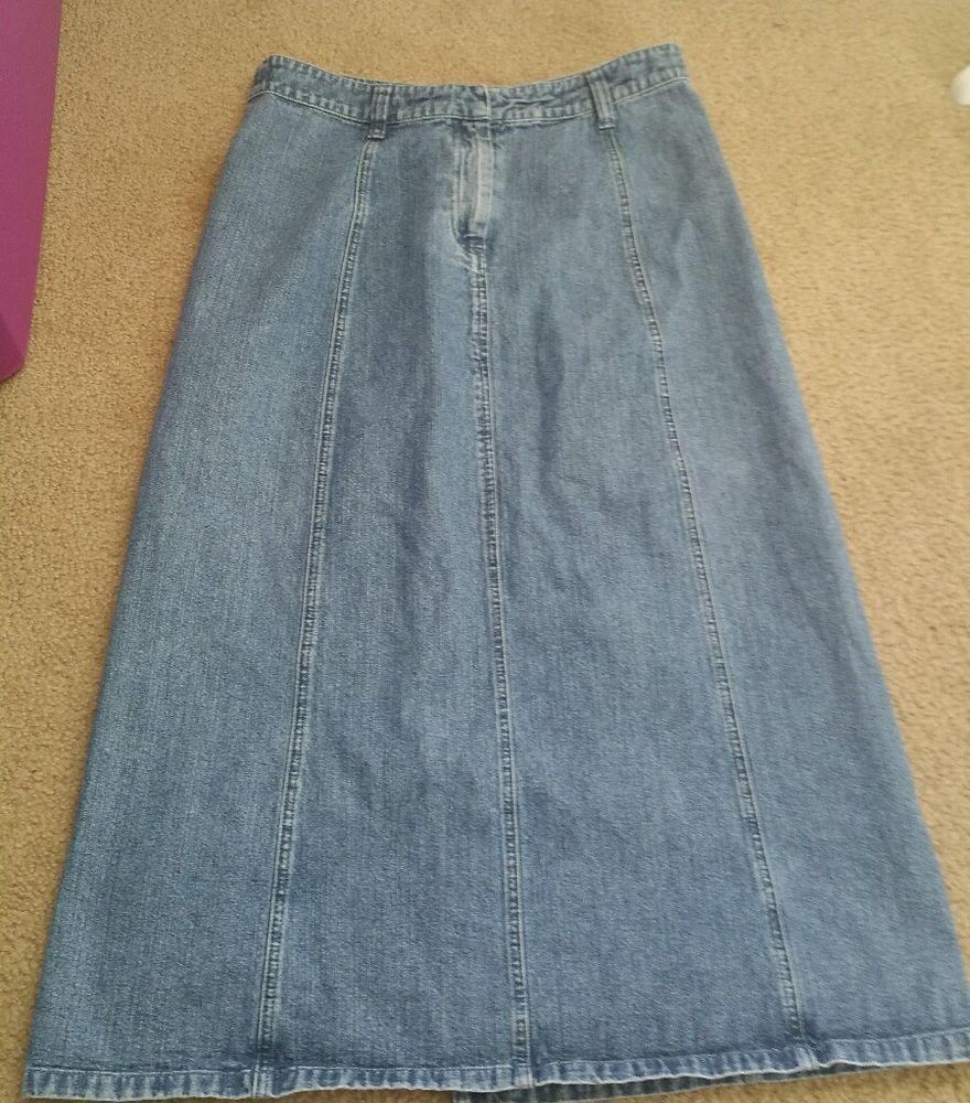Christopher & Banks Jean long skirt size 8 blue denim  #ChristopherBanks #FullSkirt