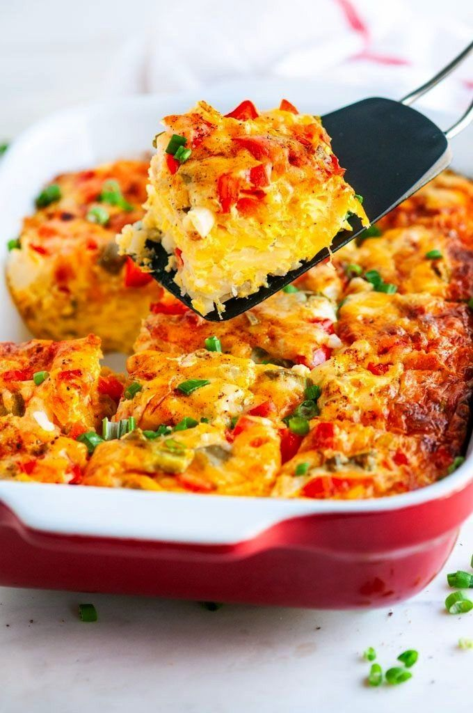 Vegetarian Hash Brown Casserole  An easy filling nutritious breakfast casserole made with eggs hash browns bell pepper onion spices and delicious melty cheese From Easy V...