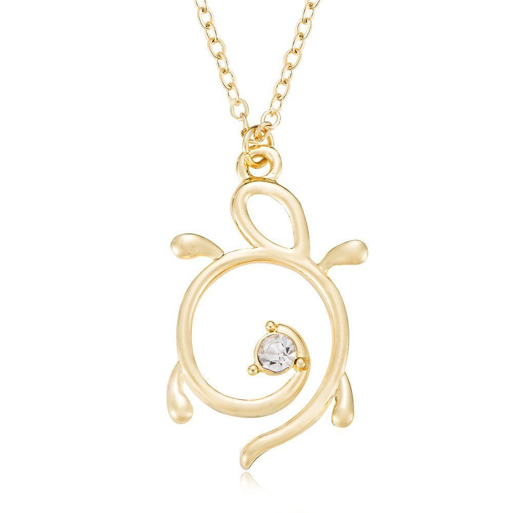Ruxiang abstract outline sea turtle necklace charm pendant