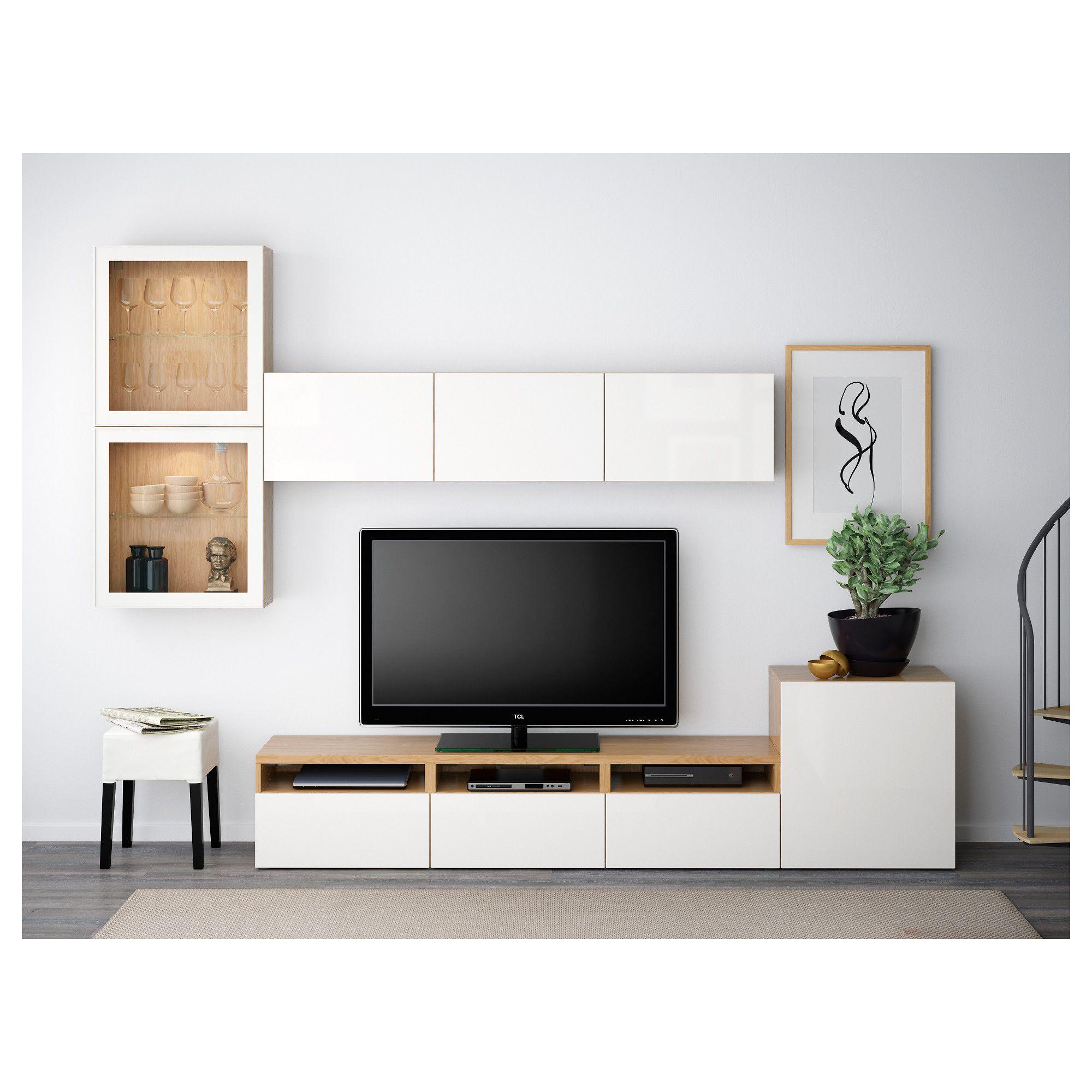 BESTÅ TV storage combination/glass doors Oak effect/selsviken high ...