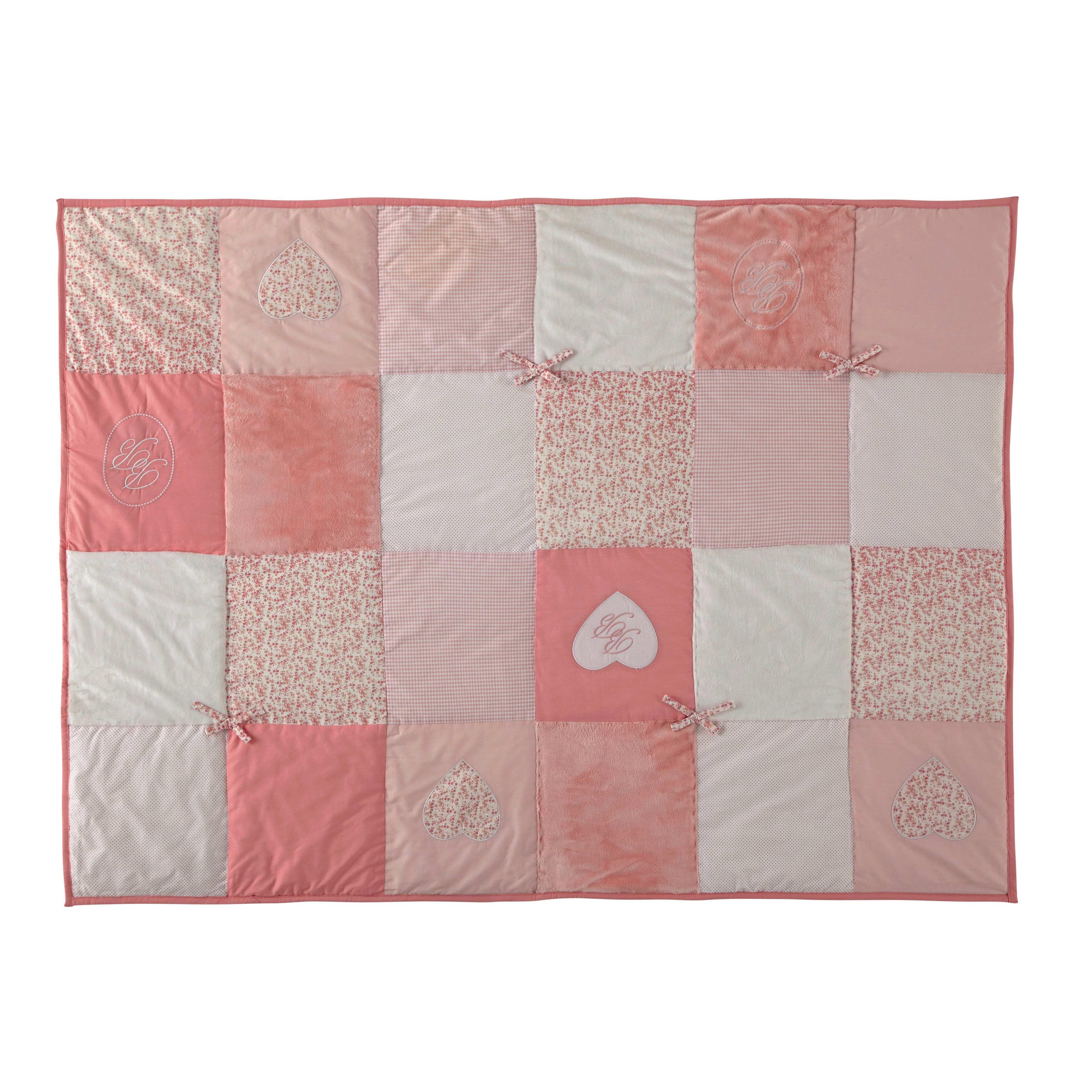 Édredon enfant patchwork en coton rose 100 x 140 cm VICTORINE ...