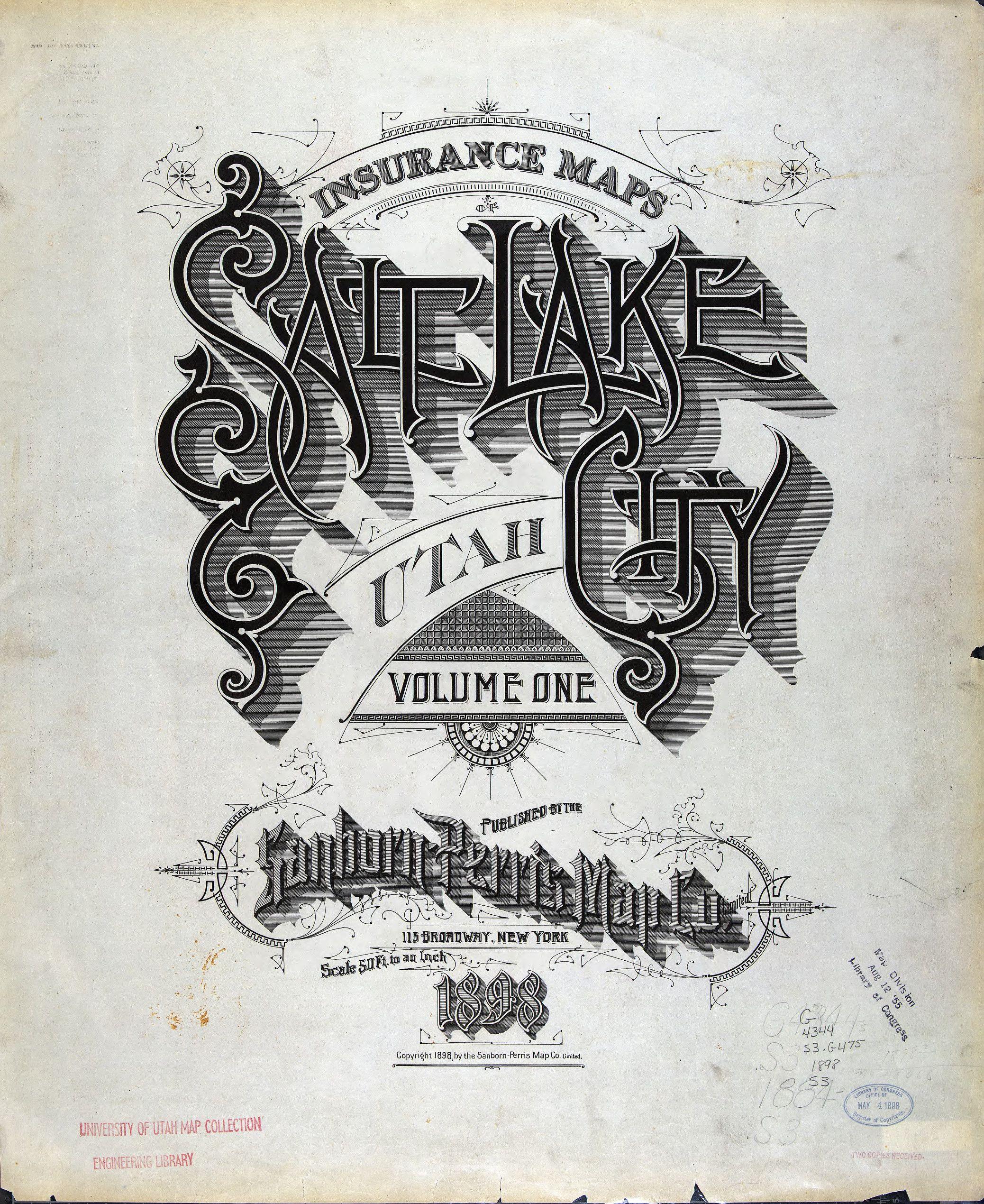 Salt Lake City Utah Sanborn Perris Map Co Vintage Typography Design Vintage Typography Typography