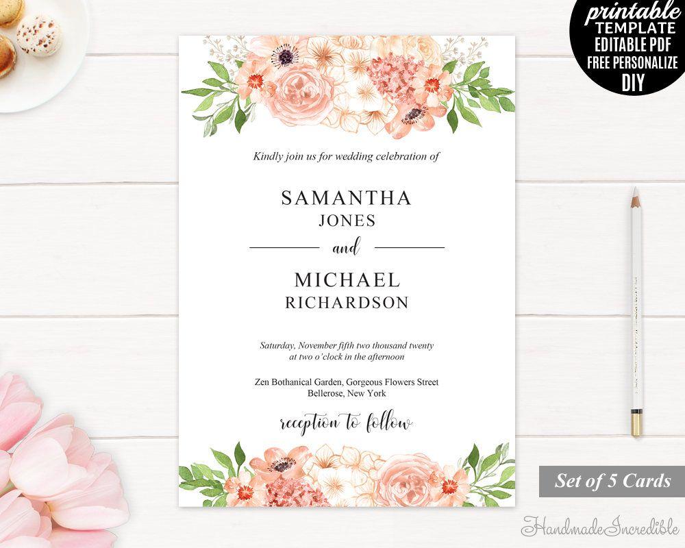 Peach and Cream Wedding Invitation. Wedding Invitation Template ...