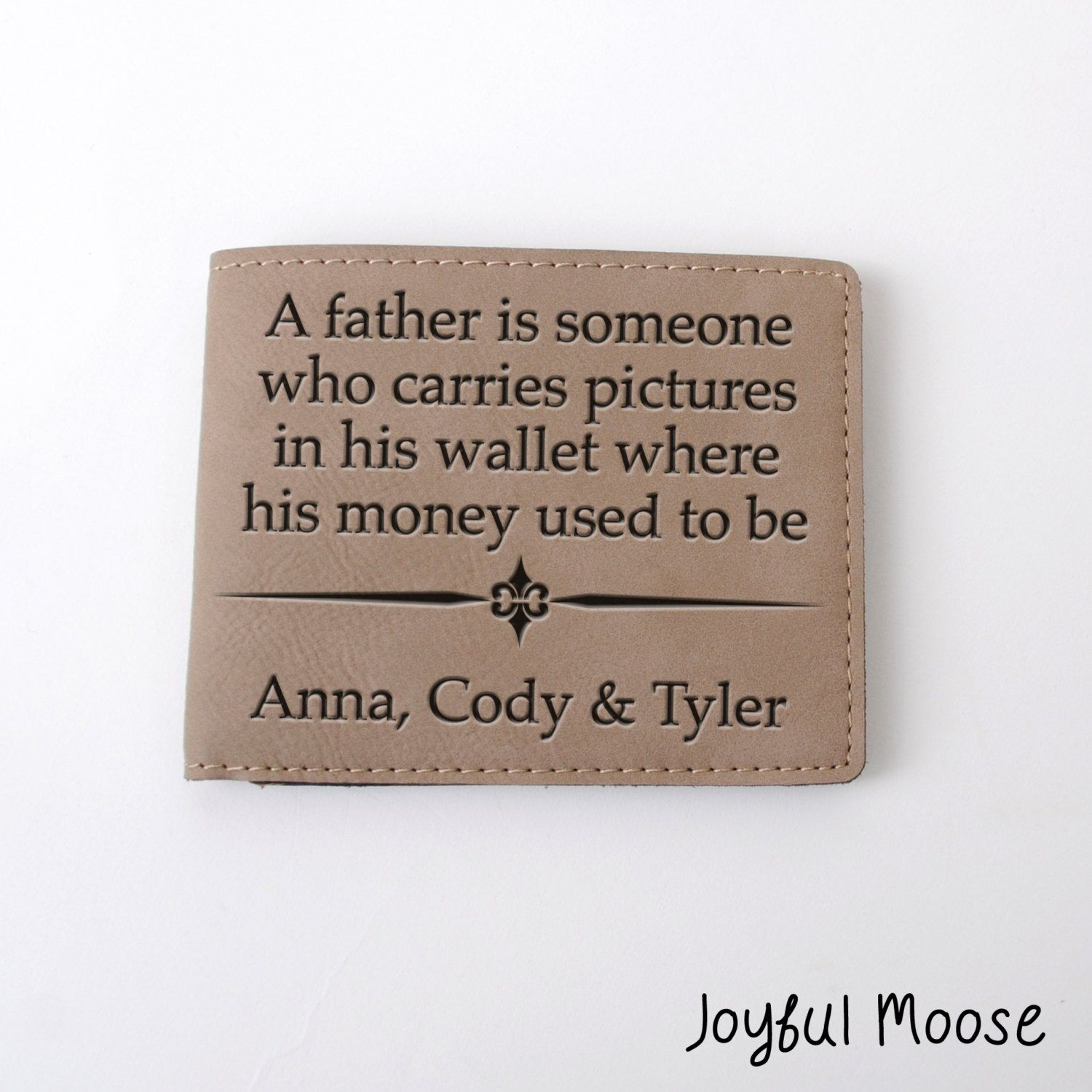 6665462bc0ee New to JoyfulMoose on Etsy  Leather Wallet for Dad - Personalized Father s  Day Gift - Personalized Mens Wallet Kids Names (19.00 USD)