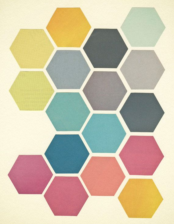 Retro Wall Art retro wall art, geometric art print, hexagon pattern, giclee print