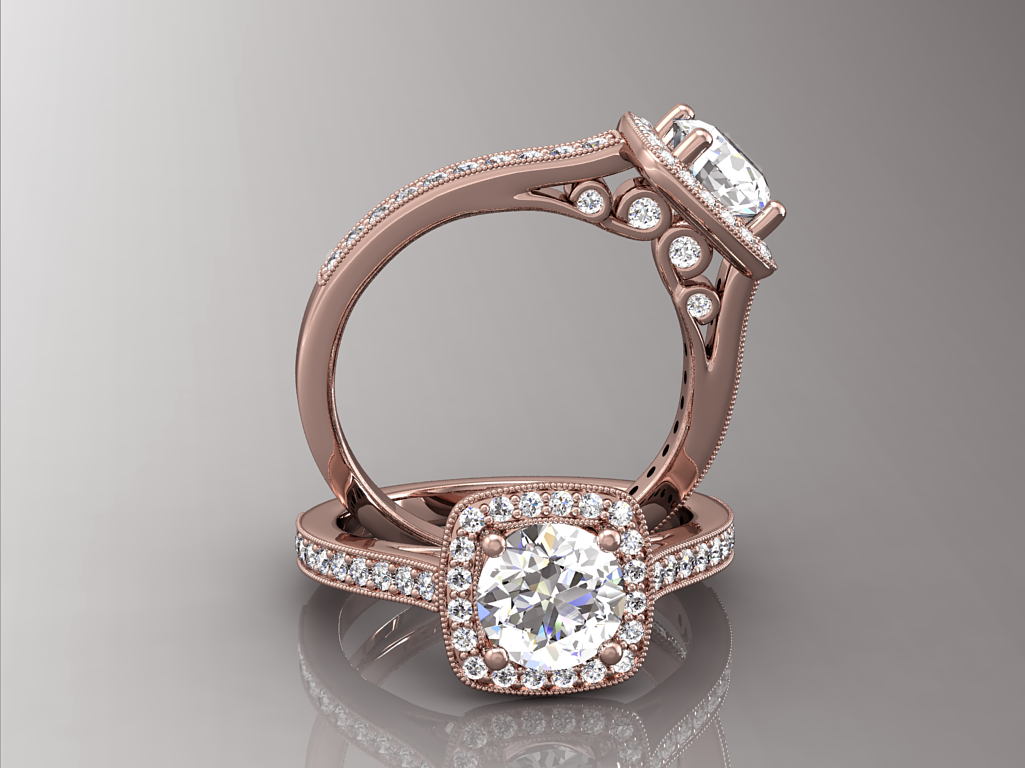 Kissrings Rose Gold Vintage Halo Engagement Ring Setting 14k Or 18kt  Rose Gold