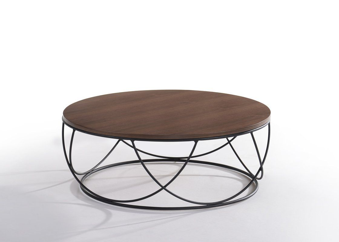 Modrest Strang Modern Walnut Black Round Coffee Table With