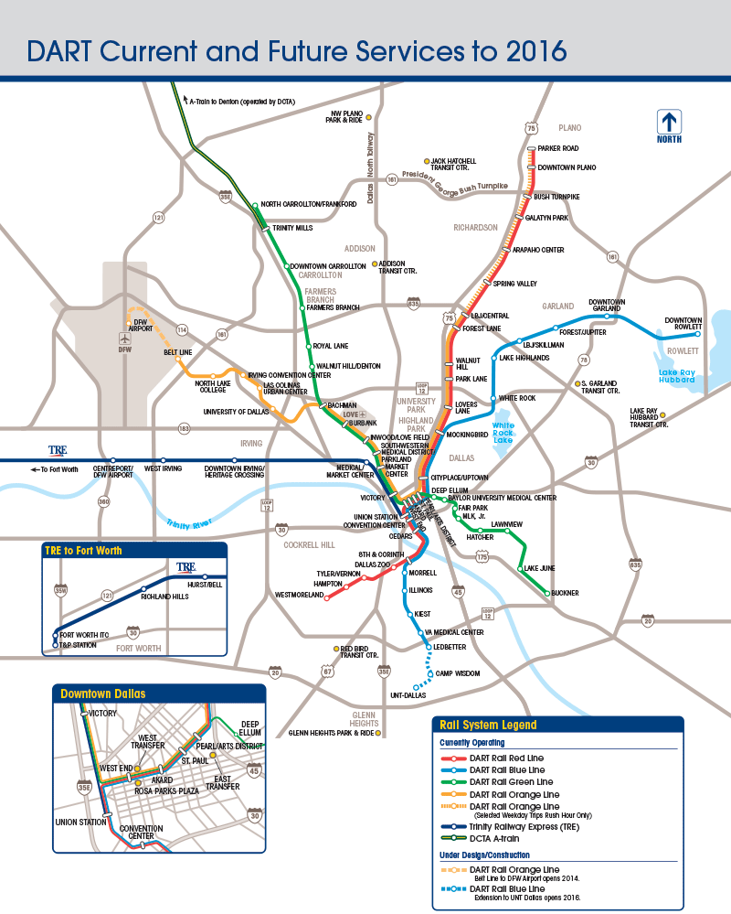 Downtown Dallas Map and Guide | DART Current and Future Services Map on