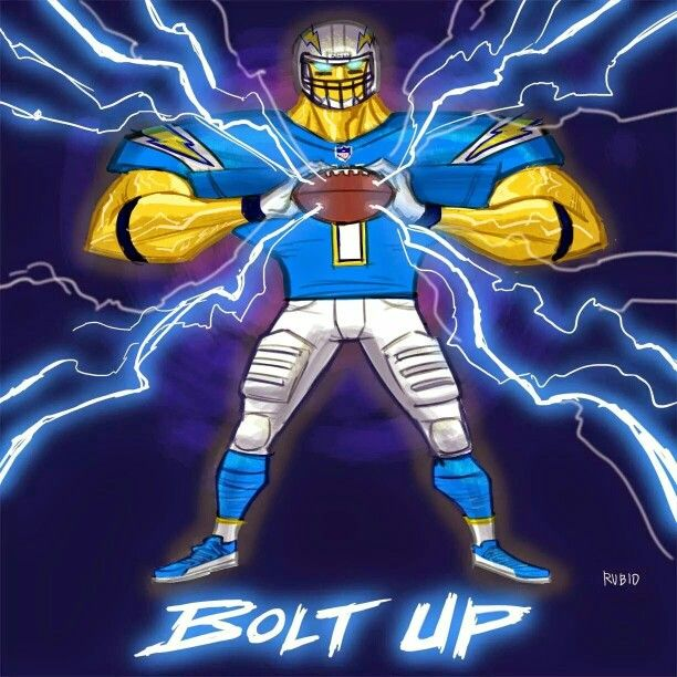 San Diego Chargers Art: BOLT UP By Bobby Rubio