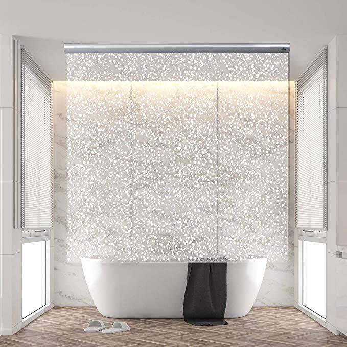 Amazon Com Jakooz Rollup Shower Curtain For Bathroom Waterproof 100 Peva Mildew Resistant Heavy Duty In 2020 Curtains With Blinds Shower Curtain Bathroom Blinds