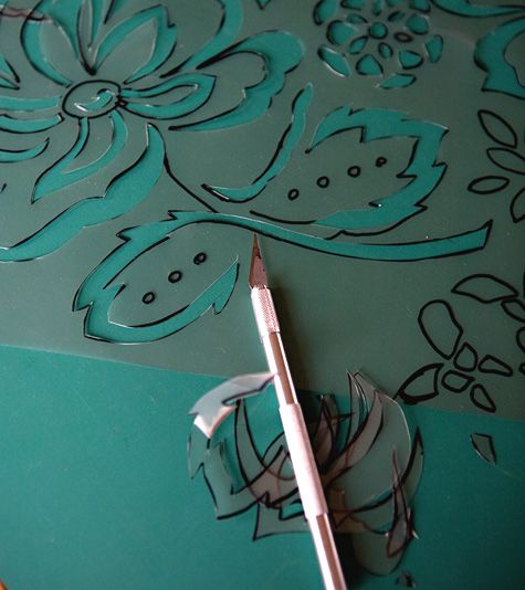How To Make Your Own Stencil From A Fabric Print For The Floor Stencil Diy Stenciled Floor Printing On Fabric