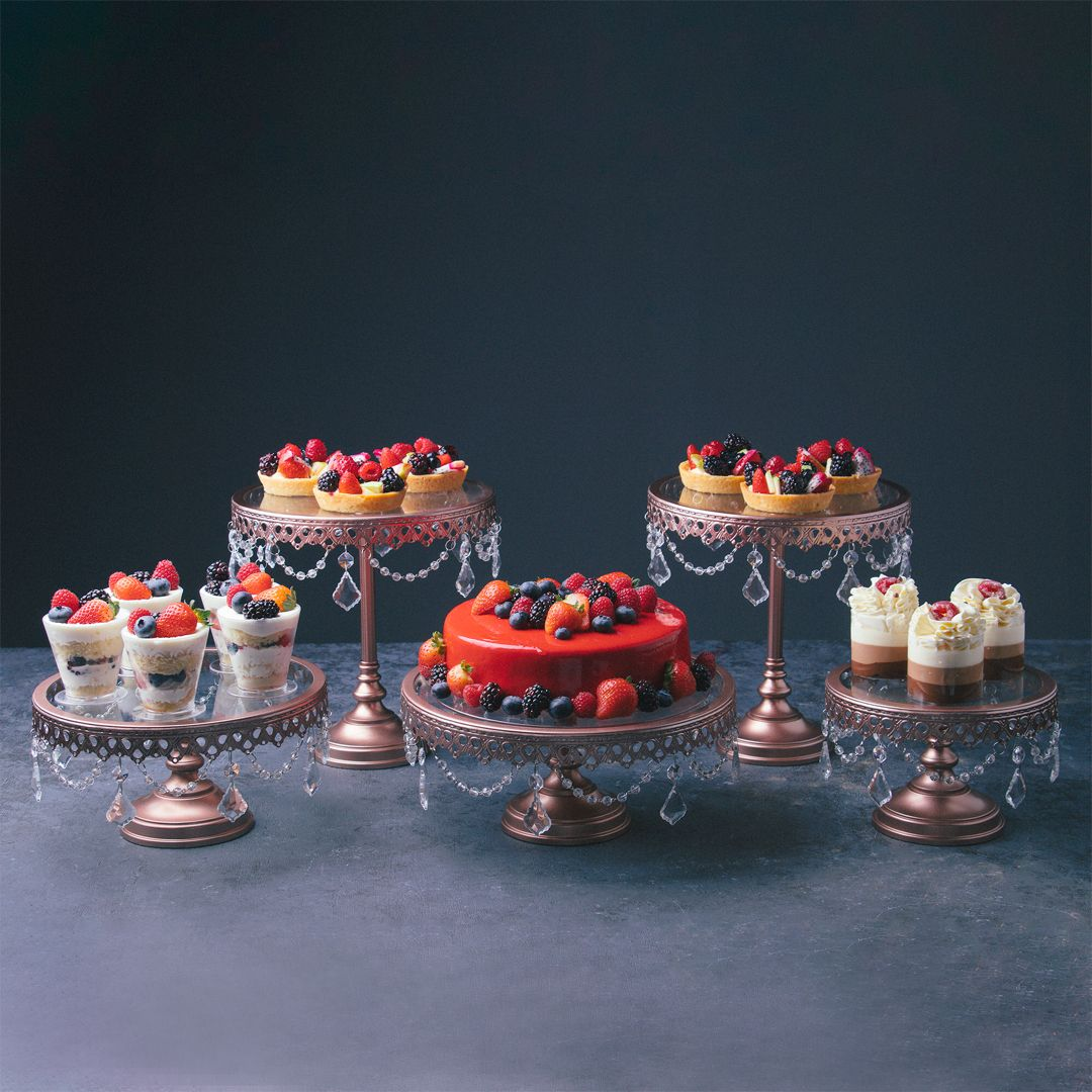 5piece glass top crystal cake stand set rose gold