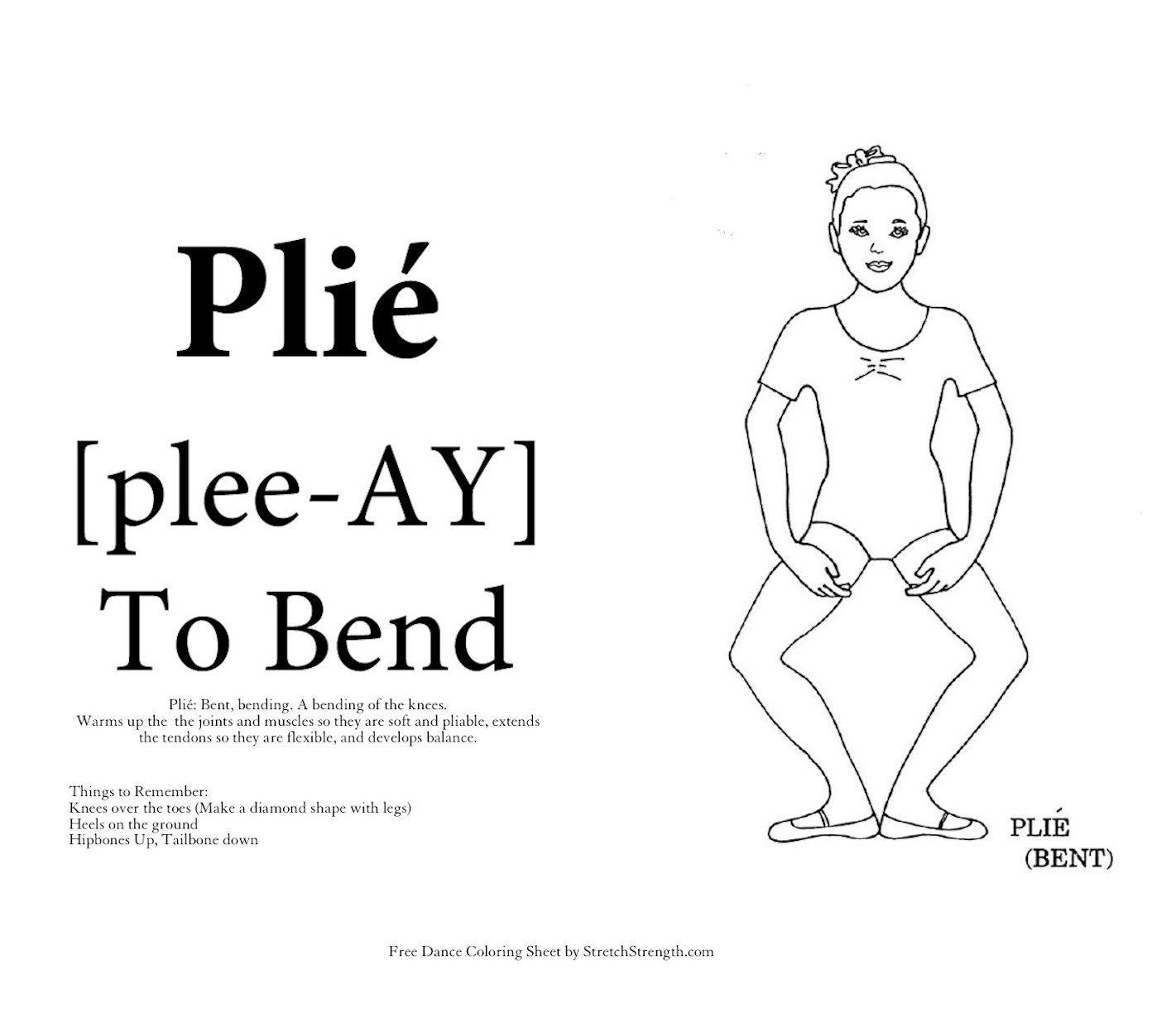 Free Ballet Dancer Vocabulary Coloring Sheet - Plié