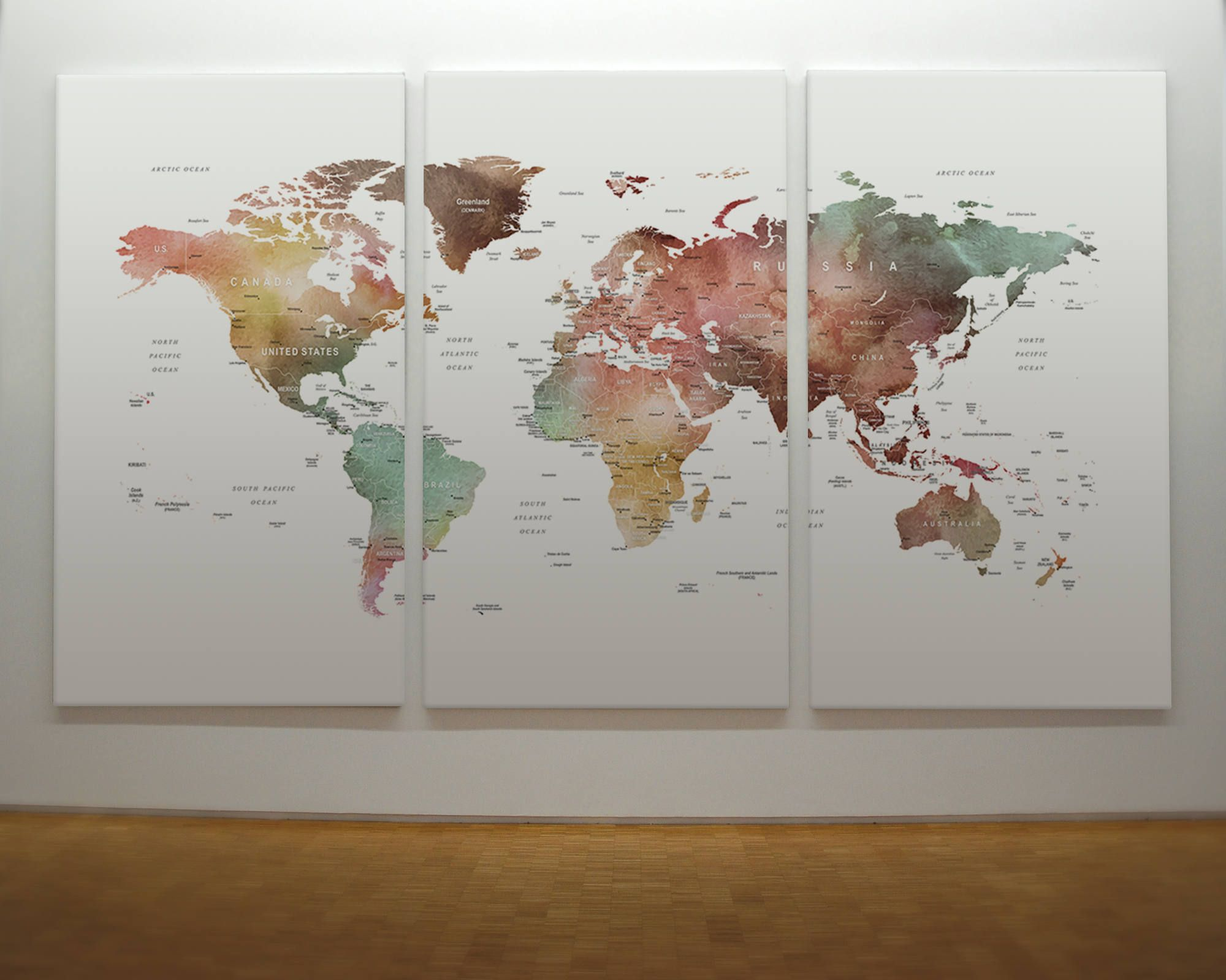 Brown watercolor world map print on canvas world map wall art home brown watercolor world map canvas world map wall art detailed print push pin world map with countries and cities gumiabroncs Image collections