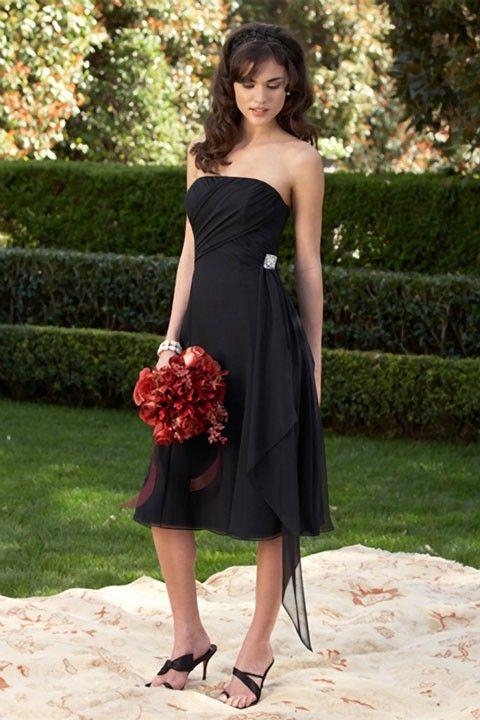 Strapless chiffon bridesmaid dress with dropped waist  |Chiffon , Satin $172.00