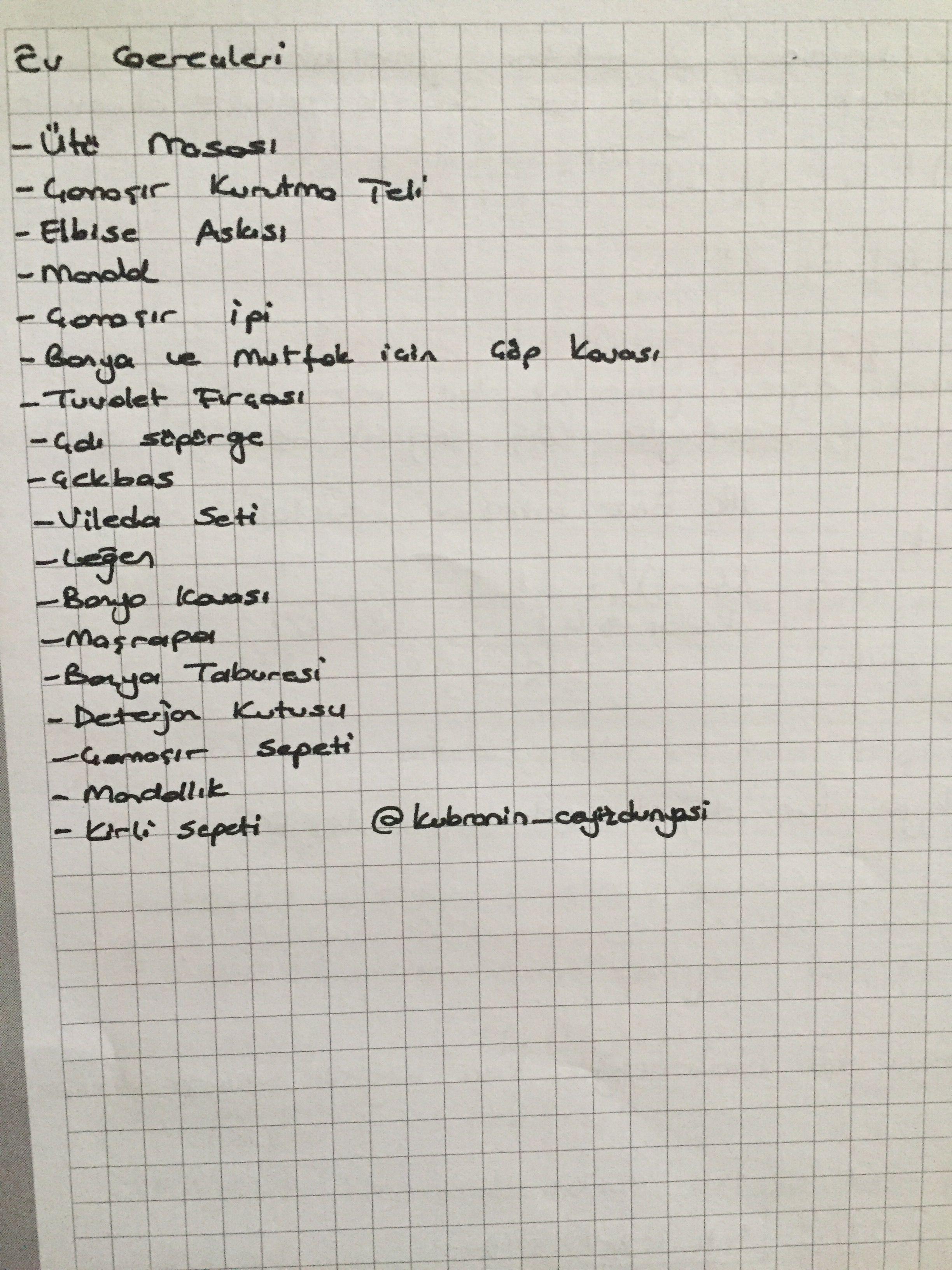 Çeyiz listesi gelin evi liste #evdüzenleme