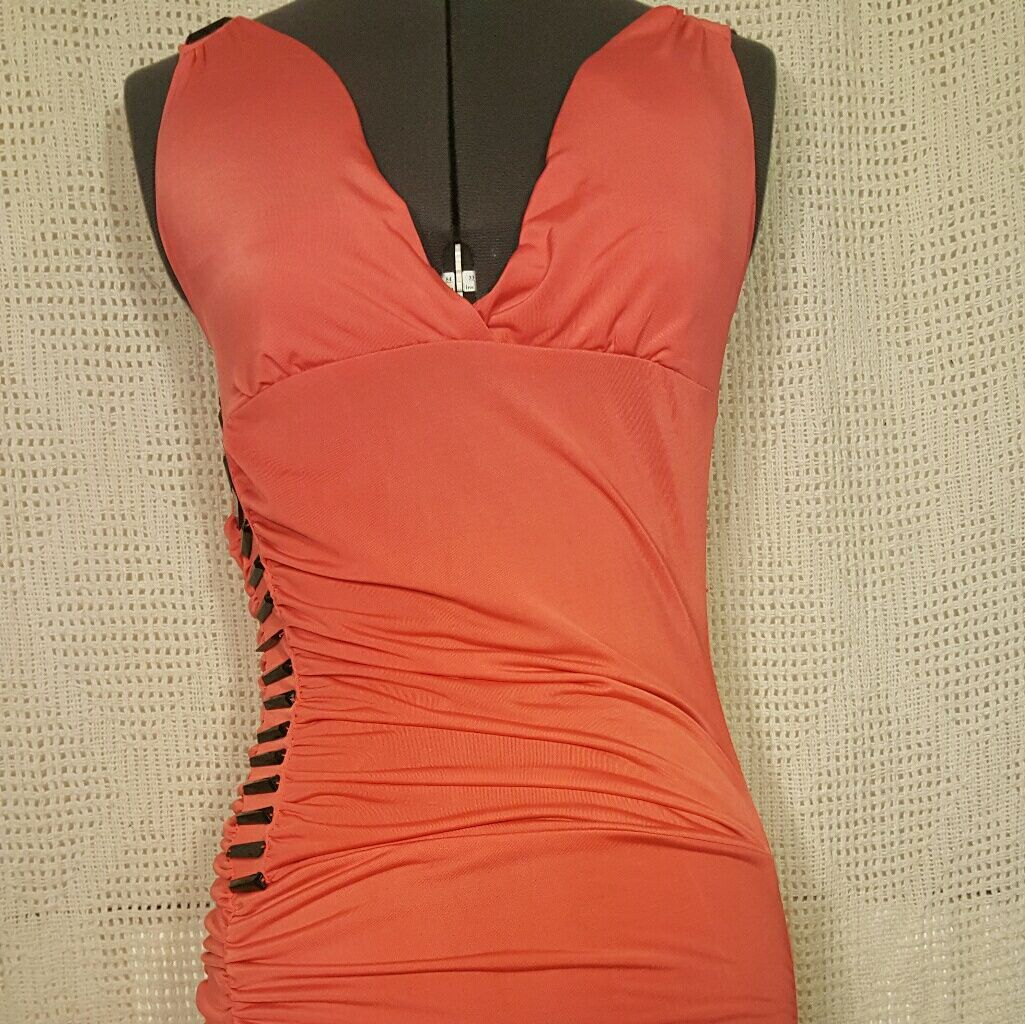 Tangerine sheath bodycon dress black beads small products