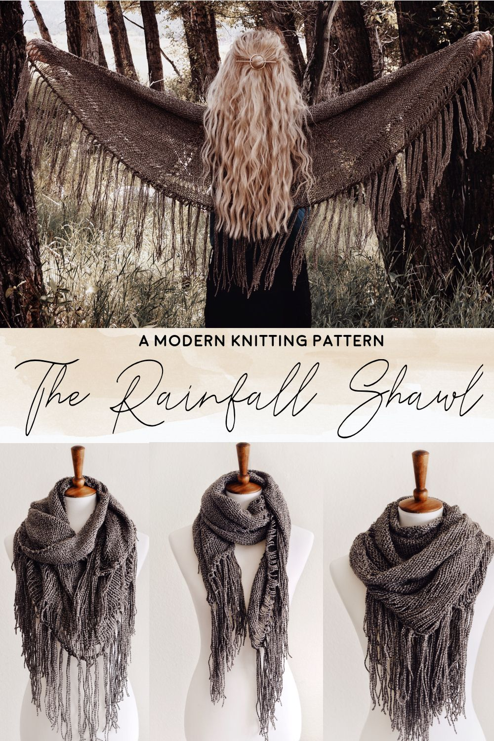 Knit Boho-Western Shawl With Tassels Knitting Pattern by Darling Jadore | THE RAINFALL SHAWL