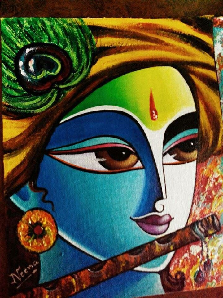 Lord Krishna Drawing With Oil Pastels