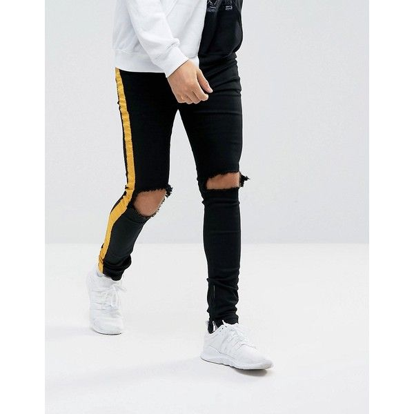 aa67cf22 Sixth June Super Skinny Jeans In Black With Yellow Stripe And... ($80) ❤  liked on Polyvore featuring men's fashion, men's clothing, men's jeans,  black, ...