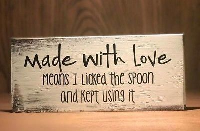 Rustic Wood Kitchen Sign MADE WITH LOVE, Farmhouse Home decor, funny, baking