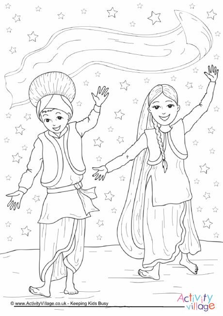 Bhangra Dance Colouring Page