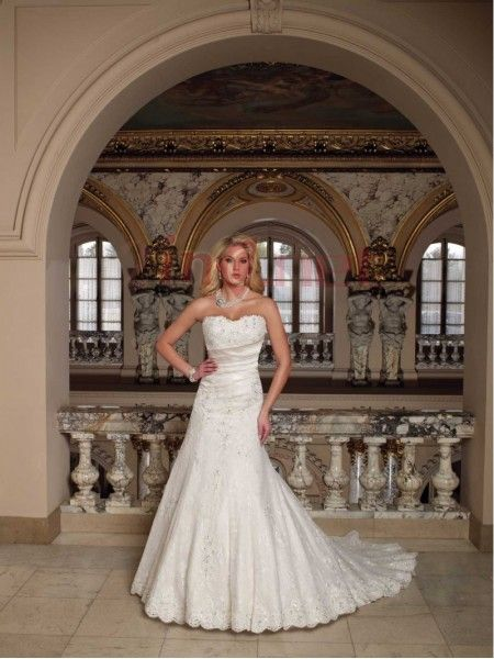 $200.85Elagant Sweetheart Chapel Train Satin A Line Wedding #Dress #With #Pleating