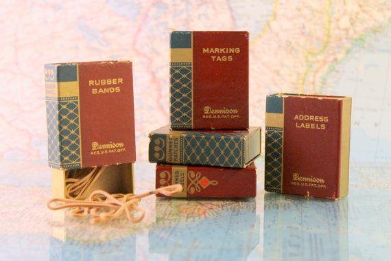 Vintage Office Supplies - Desk Decor - Vintage Decor - Labels, Tags, Address Labels, Rubber Bands - Dennison - Mini Boxes