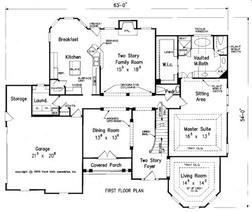 First floor master bedroom home plans home design and style for Two story living room house plans