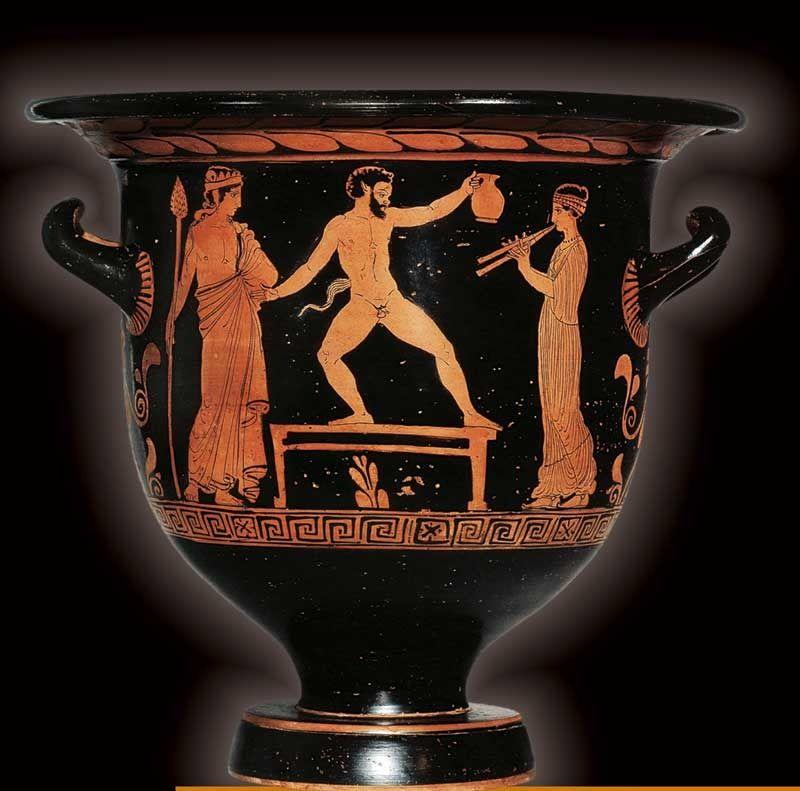 Apulia - Satiro danzante al cospetto di Dioniso - faccia principale di un cratere a campana in terracotta.  Pittore di Sisifo, 400 a.C. circa.