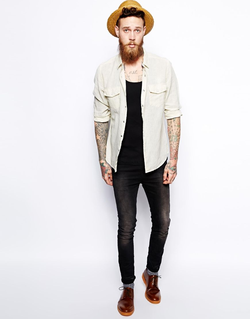 Image of asos western shirt in linen mix with long sleeves menus