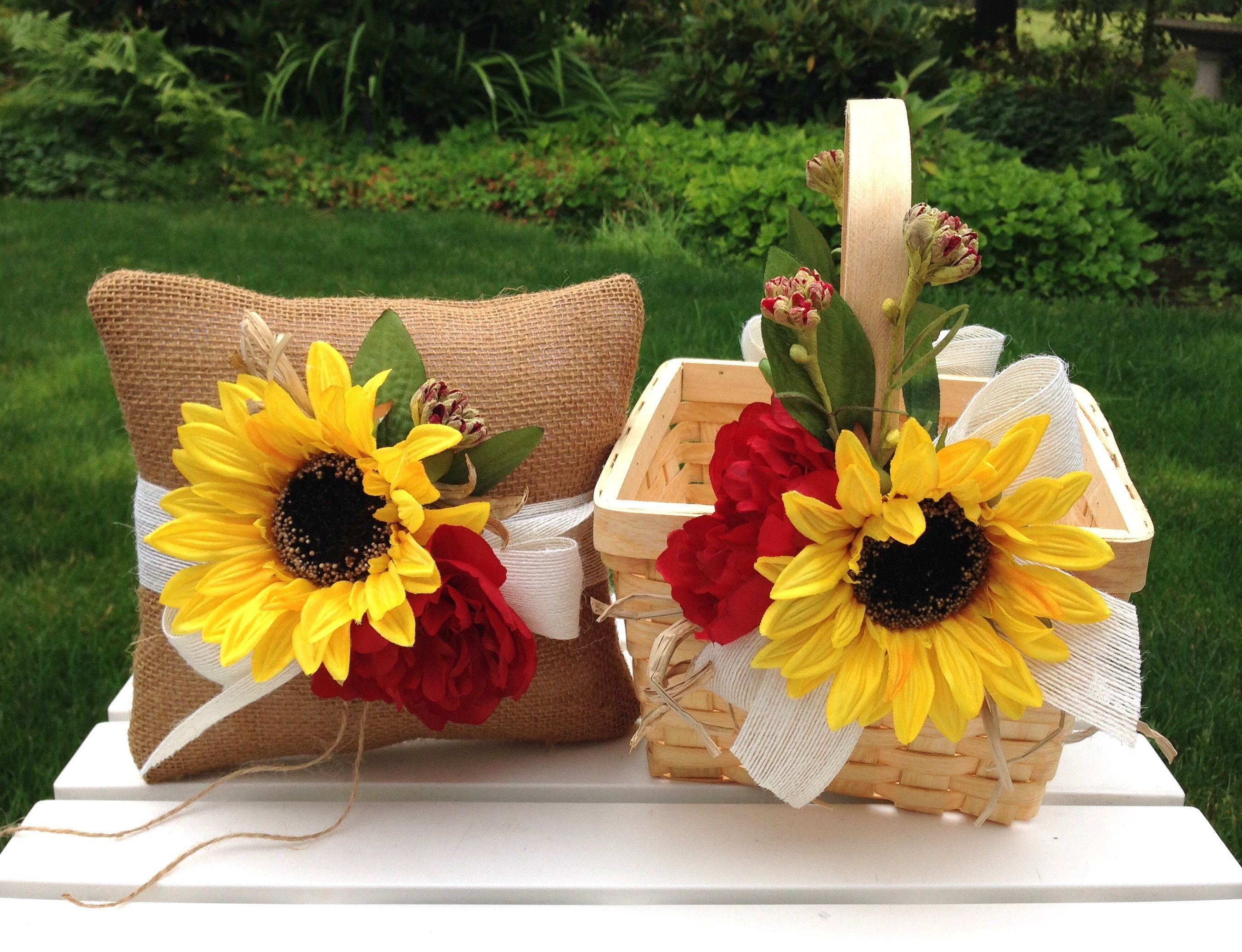 Sunflowers and Burgundy Flower Girl Basket and Ring Bearer