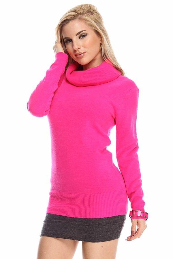 39923a94b6606 pink sweaters#fuchsia sweater#knit sweater#turtleneck sweater#tunic sweater#women  sweater top#cheap sweaters#sexy sweater