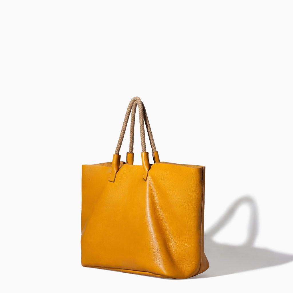 zara leather shopper bag yellow