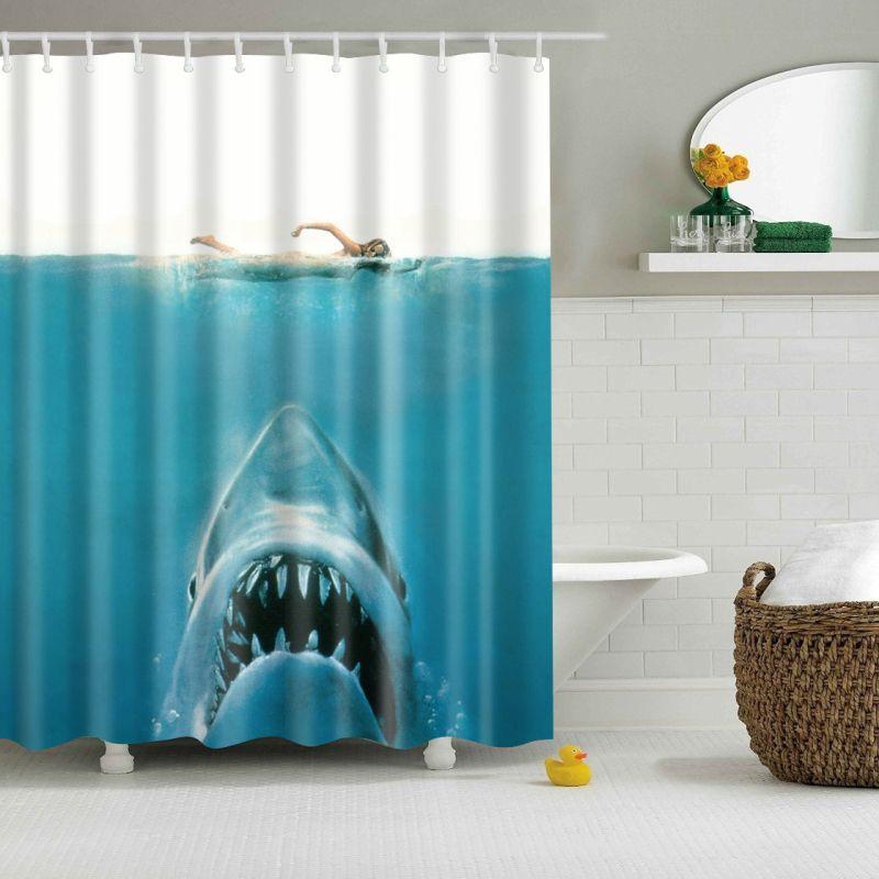 Bathroom Shower Curtain Woman And Shark Hanging Sheer Waterproof 12 Hooks