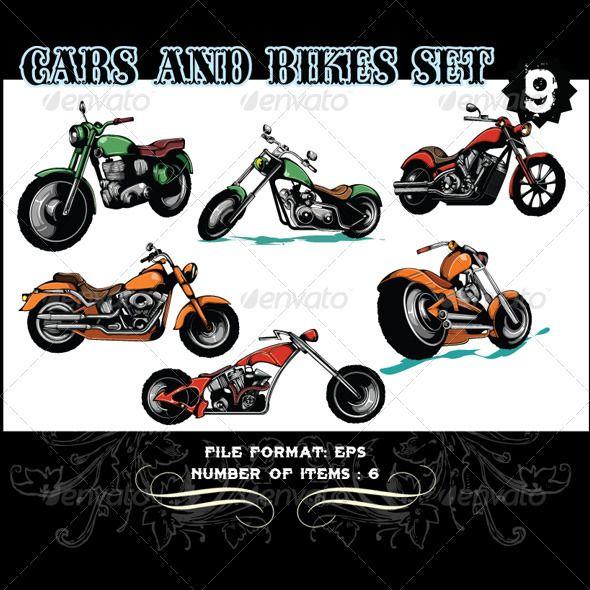 Cars Bikes Vector Set 9 Hand Drawn Vector Elements Paint Program Vector Graphics Design