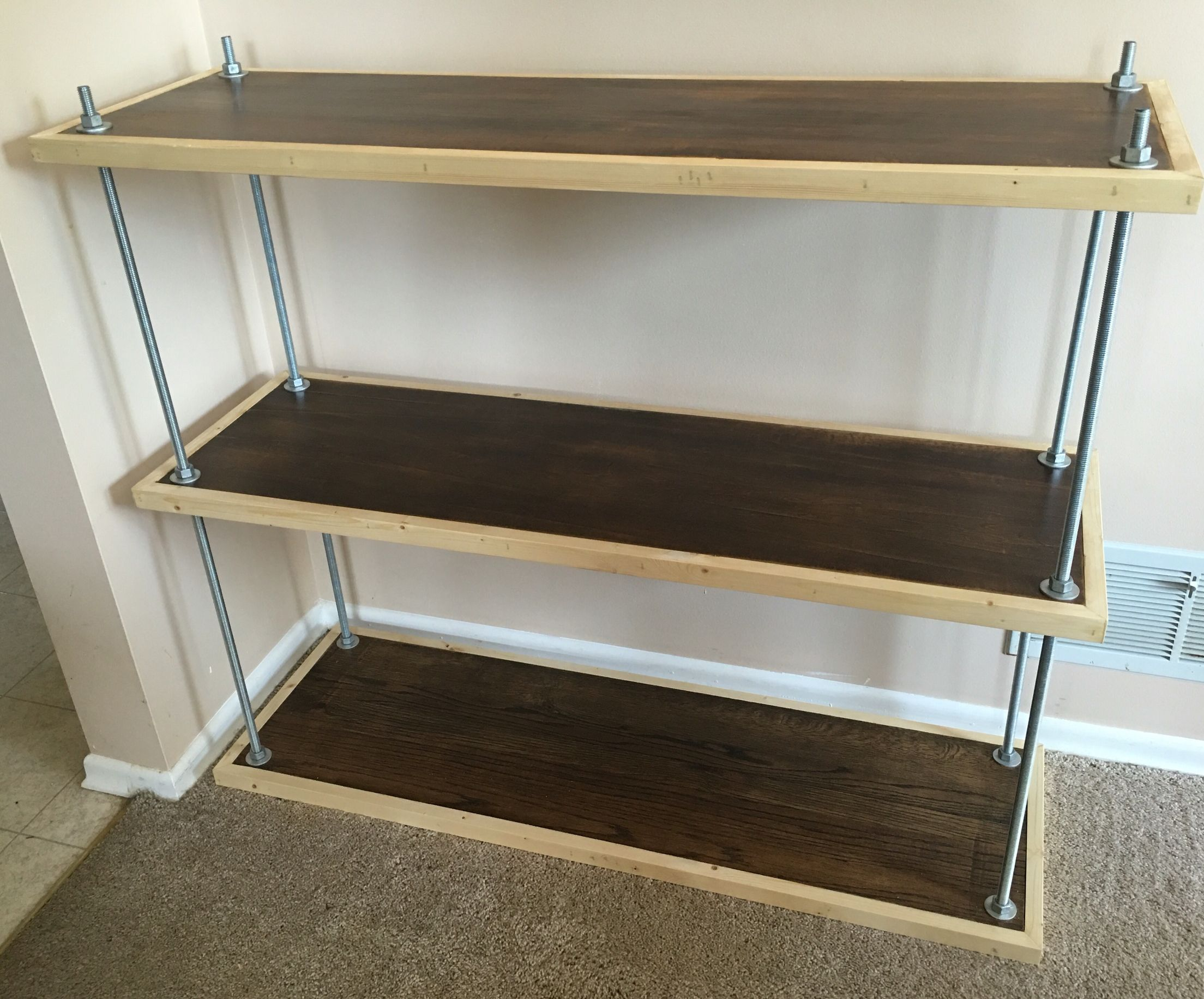 Wood And Threaded Rod Bookshelf. Stained Poplar From Repurposed Table  Leaves Trimmed In Old Pine