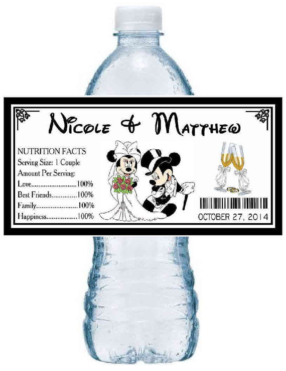 100 Disney MICKEY MINNIE Mouse WEDDING Party Favors Water Bottle Labels Glossy Waterproof
