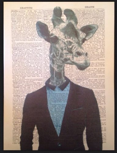 Zebra Vintage Dictionary Page Print Wall Art Picture Quirky Animal Cool Funky