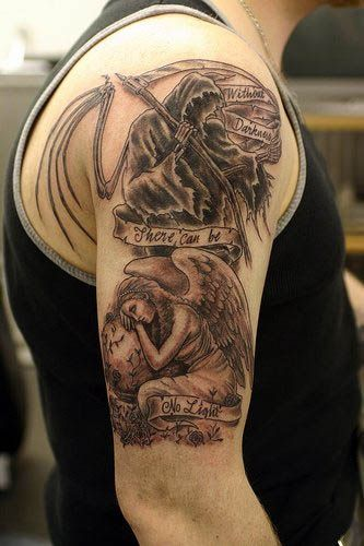 04c52b81ca673 Angel devil tattoos are both captivating and mysterious in nature. Many  people are getting angel devil tattoos. Look these 20 Angel Devil Tattoos  Design.
