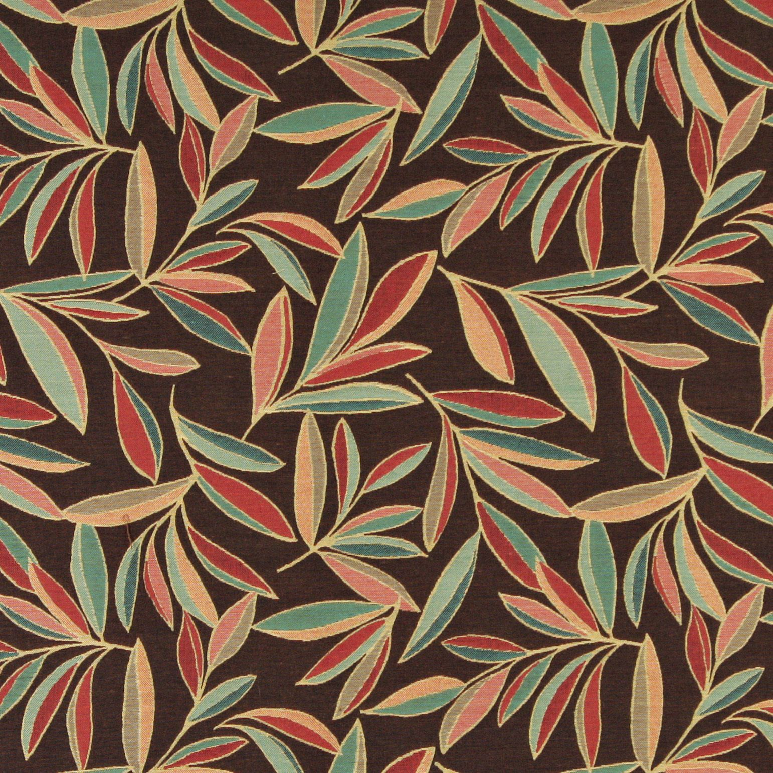 A0022B Red Blue Green Brown Leaves Contemporary Upholstery Fabric ...