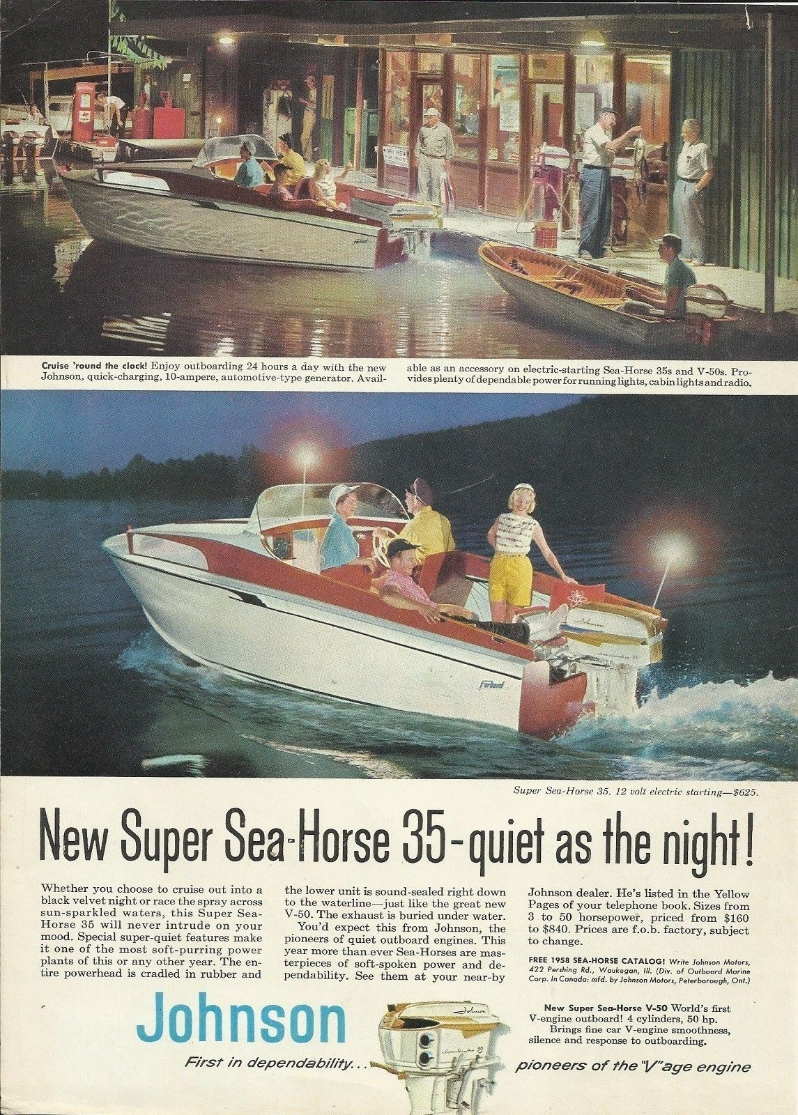 1958 johnson motors color ad the super sea horse 35 hp outboard motor [ 1145 x 1600 Pixel ]