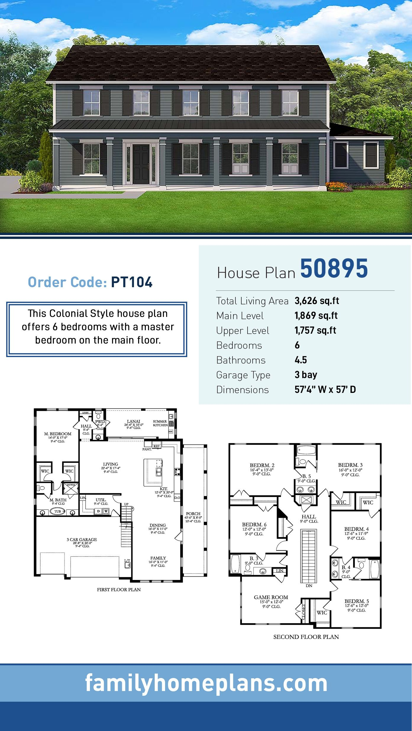 Traditional Style House Plan 50895 With 6 Bed 5 Bath 3 Car Garage Colonial House Plans House Plans Craftsman House Plans