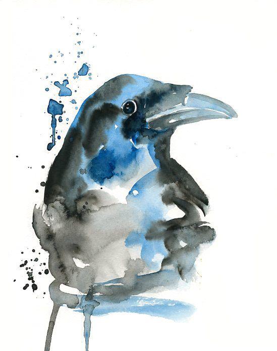 Watercolor crow tattoo idea