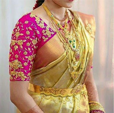 a0bc97fbc58315 Elbow length Maggam work blouse designs..