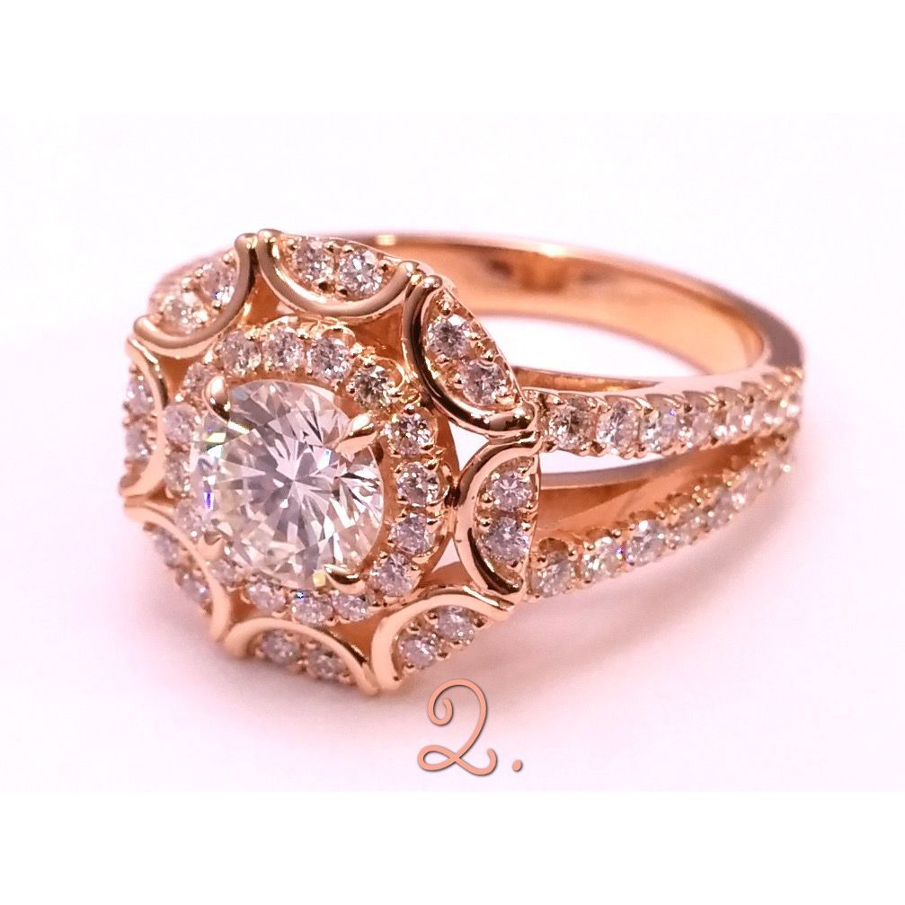 Two Tone Gold and Diamond Flower Engagement Ring | Flower patterns ...