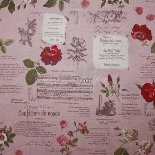 Tissu Yuwa Thème Musique et Roses fond Rose Chez entrez-sans-frapper-deco