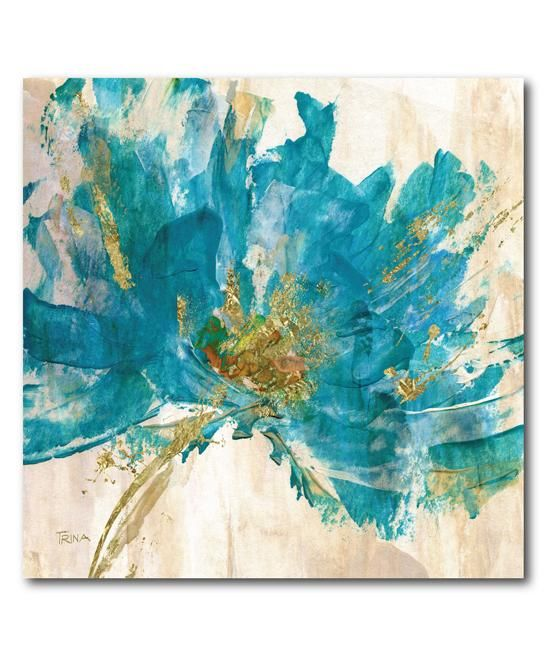 Teal flower contemporary wrapped canvas home decor for Modern flower paintings