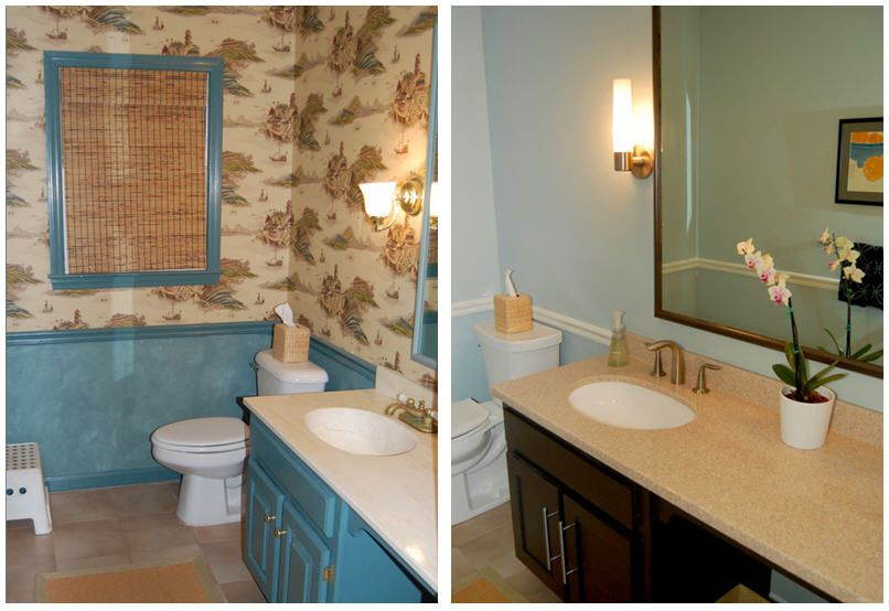 Before And After   Our Powder Room Refresh // Wall Color   Benjamin Moore  Woodlawn · Woodlawn BlueBathroom ...